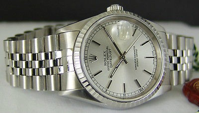ROLEX - Mens 36mm Stainless Steel DateJust - Silver Stick Dial -16220 SANT BLANC