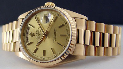 ROLEX - Men's 18kt Gold 36mm Day-Date President Champagne Stick 18238 SANT BLANC