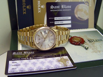 ROLEX - 18kt Gold Day-Date PRESIDENT Silver Stick Dial 18238 - SANT BLANC
