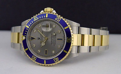 ROLEX - 40mm 18kt Gold & Stainless Steel SUBMARINER Silver Serti Dial - 16613