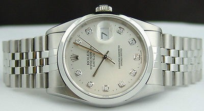 ROLEX - Mens 36mm Stainless DateJust Silver Diamond Dial - 16200