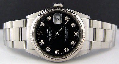 ROLEX - Mens 18kt WG & SS DateJust Black Diamond Dial - 16234 SANT BLANC