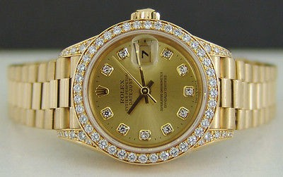 ROLEX - Ladies 18kt Gold PRESIDENT Champagne DIAMOND Dial - 69158 SANT BLANC