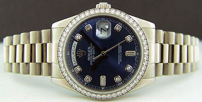 ROLEX 18kt Mens White Gold DayDate President Blue Diamond Dial 118239