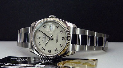 ROLEX  DateJust Mens Stainless Steel Ivory Jubilee Arabic Dial 116234 SANT BLANC
