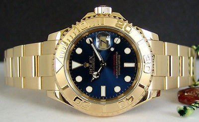 ROLEX - 40mm 18kt Gold YachtMaster Blue Index Dial - 16628 SANT BLANC
