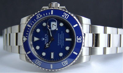ROLEX - 18kt White Gold BLUE Submariner Ceramic Bezel Model 116619