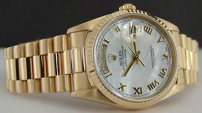 ROLEX - 18kt Gold Mens Day-Date PRESIDENT MOP Roman PEARL Dial 18238 SANT BLANC