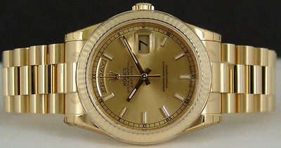 NEVER WORN ROLEX Mens 36mm 18kt Gold PRESIDENT Champagne Index 118238 SANT BLANC
