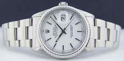 ROLEX - Stainless Steel Mens 36mm DateJust White Stick Dial - 16220 SANT BLANC