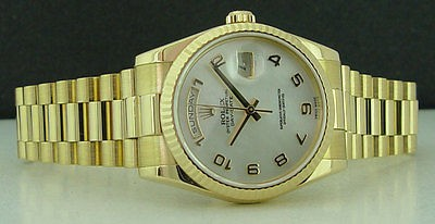 ROLEX - 36mm 18kt Gold Day-Date President - MOP Arabic Dial - 118238 SANT BLANC
