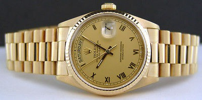 ROLEX - 36mm Mens 18kt Gold Day-Date President Champagne Roman 18038