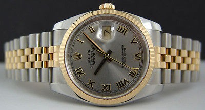 ROLEX - 18kt GOLD & Stainless Mens 36mm DateJust Slate ROMAN 116233 SANT BLANC