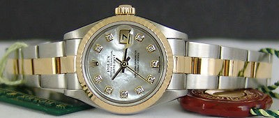 ROLEX - Ladies 18kt Gold & SS DateJust Mother of Pearl Diamond 79173 SANT BLANC