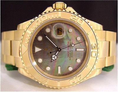 ROLEX Gold Men's YachtMaster Tahitian Pearl Dial 16628 SANT BLANC