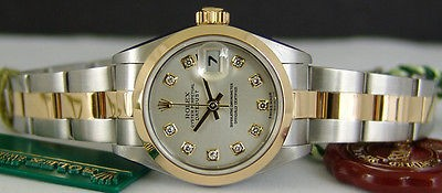 ROLEX - Ladies 26mm 18kt Gold & SS DateJust - Silver Diamond - 79163 SANT BLANC