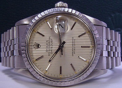ROLEX - Mens 36mm Stainless DateJust Silver Stick Tapestery 16220 SANT BLANC