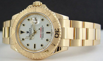 ROLEX - Mens 40mm 18kt Yellow Gold YachtMaster - White Index - 16628 SANT BLANC