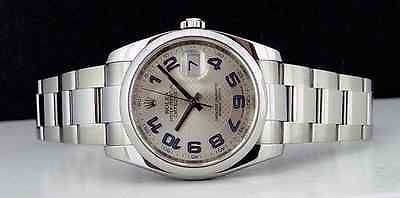 ROLEX - Mens 36mm Stainless DateJust Silver Blue DECO Dial - 116200