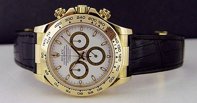 ROLEX - Mens 40mm Daytona 18kt Gold - White Index Dial - 116518 SANT BLANC