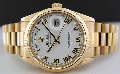 ROLEX - Men's 36mm 18kt Gold Day-Date PRESIDENT - White Roman 118238 SANT BLANC