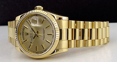 ROLEX - 36mm Mens 18kt Gold Day-Date President Champagne Index 118238 SANT BLANC