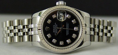 ROLEX Ladies WG & SS Black Diamond DateJust 179174 SANT BLANC