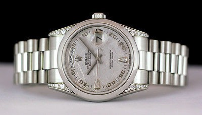 ROLEX Mens 36mm Platinum Day-Date President Meteorite Diamond 118296