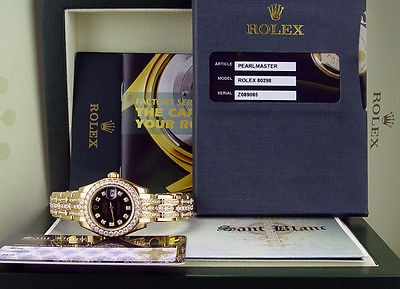 ROLEX - 18kt Gold Triple Diamond Pearlmaster Black Diamond Dial 80298