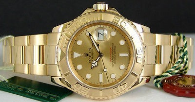 ROLEX - Mens 18kt Gold 40mm YachtMaster CHAMPAGNE Index Dial - 16628 SANT BLANC