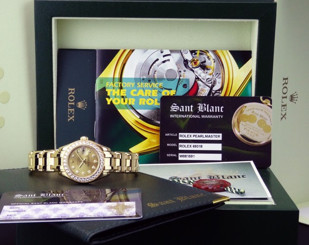ROLEX - 29mm 18kt Gold Ladies Pearlmaster Champagne Diamond - 69318 SANT BLANC