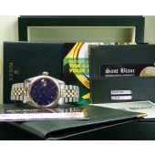 ROLEX - GOLD & SS Mens 36mm DateJust Blue Stick  - 1601 SANT BLANC