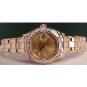 ROLEX - 29mm Gold Ladies Baguette PearlMaster Champagne Diamond 80308