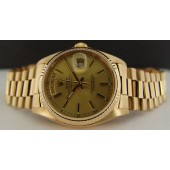 ROLEX - 18kt Gold 36mm Mens Day-Date President Champagne Stick 18038