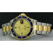 ROLEX - 40mm 18kt Gold & SS SUBMARINER Champagne Serti Dial - 16613 SANT BLANC