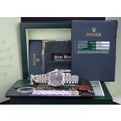 ROLEX  MidSize 31mm 18kt White Gold and Stainless Steel DATEJUST Smoke Silver Floral 178344