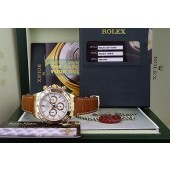 ROLEX - 18kt Yellow Gold Daytona White Index Dial on Strap - 116518