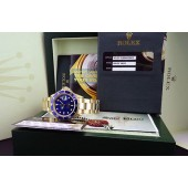 ROLEX - 18kt Yellow Gold Submariner Blue Index Dial - 16618