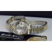 ROLEX - Ladies 26mm 18kt Gold & SS Datejust Silver CONCENTRIC 69173 SANT BLANC