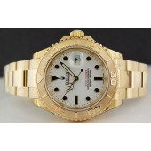 NEVER WORN ROLEX - Mens 18kt Gold 40mm YachtMaster White Dial - 16628 SANT BLANC