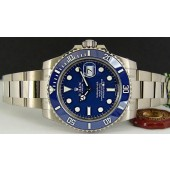 NEVER WORN ROLEX - 18kt White Gold Submariner Blue Dial CERAMIC Bezel - 116619
