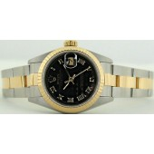 ROLEX - Ladies 18kt Gold & Stainless Steel 26mm Datejust Black Pyramid Dial 69173