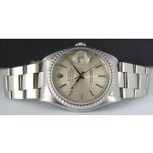 ROLEX Stainless Mens 36mm DateJust Silver Stick Tapestery Dial 16220 SANT BLANC
