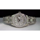 ROLEX - 29mm Ladies MASTERPIECE 18kt White Gold Mother of Pearl Diamond 80299