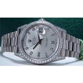 ROLEX 36mm Mens 18kt White Gold DIAMOND Day-Date President Silver Dial 118389
