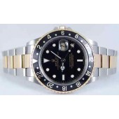 ROLEX Mens 40mm Stainless Steel & 18kt Gold GMT-Master II Black 16713 SANT BLANC