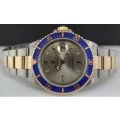 ROLEX - 18kt Gold & SS SUBMARINER Silver Diamond and Sapphire 16613 SANT BLANC