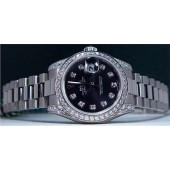 ROLEX - 26mm Ladies 18kt White Gold Datejust President - Black Diamond - 179159