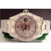 18kt White Gold Rolex Ladies PearlMaster Rose Pearl 80319