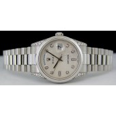 ROLEX Mens Platinum Day-Date President Silver Diamond Jubilee 118296